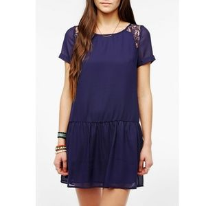 UO Coincidence & Chance drop waist dress Lace navy
